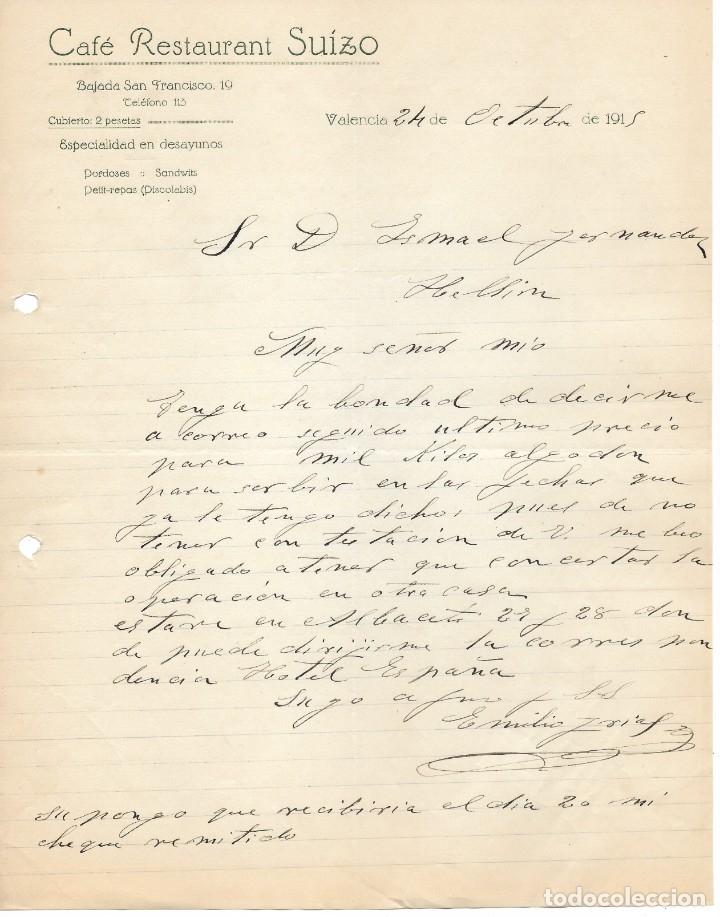 1915 VALENCIA. CAFE RESTAURANT SUIZO. CARTA COMERCIAL MANUSCRITA (Coleccionismo - Documentos - Cartas Comerciales)
