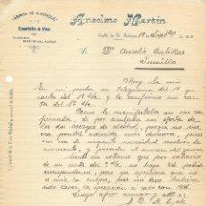 Cartas comerciales: PUEBLA DE DON FABRIQUE 1910. EXPORTACIÓN DE VINOS ANSELMO MARTIN. CARTA MANUSCRITA A JUMILLA. Lote 178126898