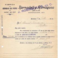 Cartas comerciales: 1915 BARCELONA. FABRICA DE GENEROS DE PUNTO EN CANET DE MAR. BERNARDELL Y ROMAGOSA. Lote 178134604