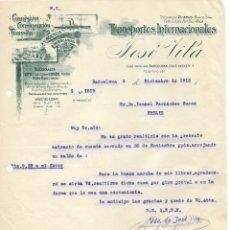 Cartas comerciales: 1915 BARCELONA.CARTA COMERCIAL TRANSPORTES INTERNACIONALES JOSE VILA. Lote 178135272