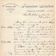 Cartas comerciales: 1905 CARTAGENA. ALMACENES DE VINOS FRANCISCO ANDREU.CARTA COMERCIAL MANUSCRITA POR AMBAS CARAS.. Lote 178143268