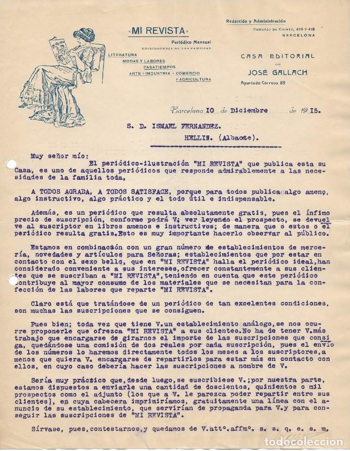 BARCELONA 1915 CARTA COMERCIAL MI REVISTA. CASA EDITORIAL JOSÉ GALLACH (Coleccionismo - Documentos - Cartas Comerciales)
