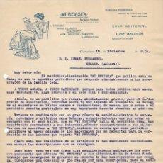 Cartas comerciales: BARCELONA 1915 CARTA COMERCIAL MI REVISTA. CASA EDITORIAL JOSÉ GALLACH. Lote 178143850