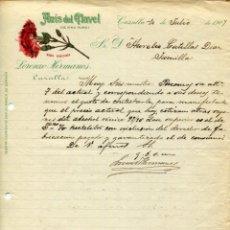Cartas comerciales: CAZALLA DE LA SIERRA- FÁBRICA ANÍS DEL CLAVEL- LORENZO HERMANOS- AÑO 1907-ORIGINAL MUY RARO. Lote 178228758