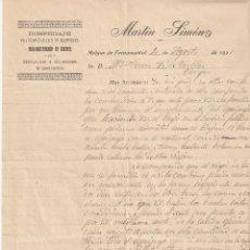 Cartas comerciales: MELGAR DE FERNAMENTAL (BURGOS) 1921 MARTIN SIMÓN. HOSPEDAJE. AUTOMÓVILES A BURGOS.. Lote 178341410