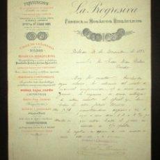 Cartas comerciales: CARTA COMERCIAL DE LA PROGRESIVA, FÁBRICA DE MOSAICOS HIDRÁULICOS DE BILBAO. ORIGINAL DE 1892.. Lote 179103430