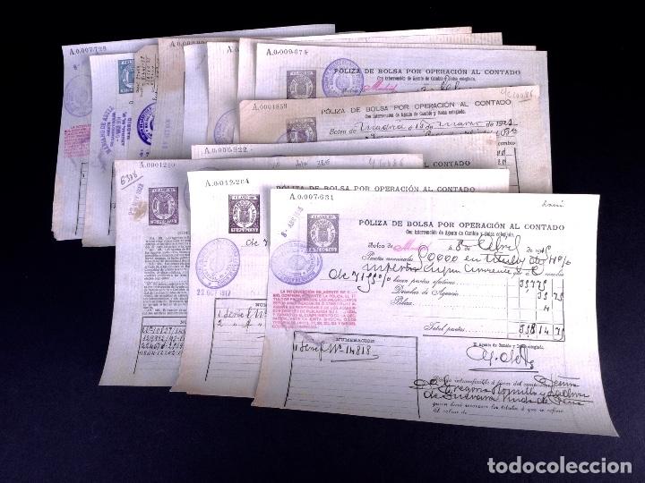 POLIZAS DE BOLSA POR OPERACION AL CONTADO. LOTE DE 14 UDS. MADRID 1899-1923 (Coleccionismo - Documentos - Cartas Comerciales)