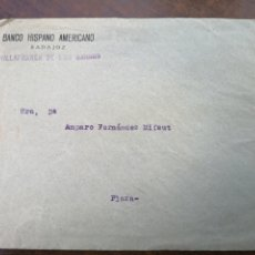 Cartas comerciales: VILLAFRANCA DE LOS BARROS. BADAJOZ. BANCO HISPANO. SOBRE PUBLICITARIO. TOROS. 1949. Lote 179211797