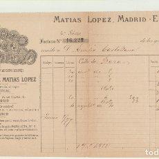 Cartas comerciales: CHOCOLATES MATÍAS LÓPEZ. MADRID-ESCORIAL. FACTURA A D. EMILIO CASTELLANO POR 437 CON 60. REALES DE V. Lote 180334820