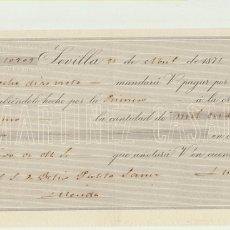 Cartas comerciales: LETRA DE CAMBIO CON MEMBRETE POR 1045 REALES DE VELLÓN. SEVILLA 21 DE ABRIL DE 1871. PAGADERA EN MÉR. Lote 180334822