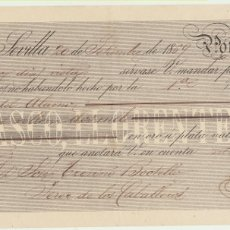 Cartas comerciales: LETRA DE CAMBIO CON MEMBRETE POR 2000 REALES DE VELLÓN. SEVILLA 20 SETIEMBRE 1969. PAGADERA EN JEREZ. Lote 180334837