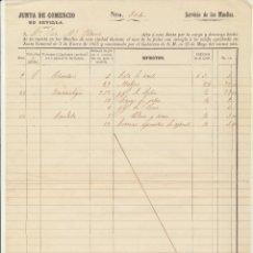 Cartas comerciales: JUNTA DE COMERCIO DE SEVILLA. SERVICIO DE MUELLES. 31 DE JULIO DE 1857. Lote 180334843