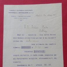 Cartas comerciales: CARTA COMERCIAL.CABLES Y MATERIAL ELÉCTRICO MONTILLA HERMANOS. 1911.DÍPTICO. 21,5 X 14 CM.. Lote 182381713