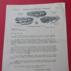 Cartas comerciales: CARTACOMERCIAL DE LA ÁMERICAN OPTICAL COMPANY. 1917. . Lote 182382188
