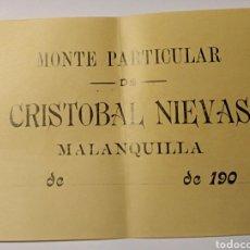 Cartas comerciales: MALANQUILLA, ZARAGOZA, ARAGON. RECIBO MONTE PARTICULAR CRISTÓBAL NIEVAS. Lote 182395423