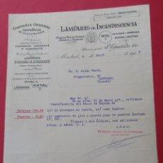 Cartas comerciales: CARTA COMERCIAL. LÁMPARAS DE INCANDESCENCIA. MADRID 1915.. Lote 182453385