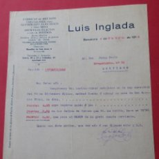 Cartas comerciales: CARTA COMERCIAL. FÁBRICA DE METALES, CRISTALERIA PARA ALUMBRADO... LUIS INGLADA. BARCELONA 1916.. Lote 182453775