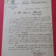 Cartas comerciales: CARTA COMERCIAL. ALMACENISTA Y EXPORTADOR DE VINOS Y COÑACS ´PEDRO CARMONA´. JEREZ 1916.. Lote 182453896