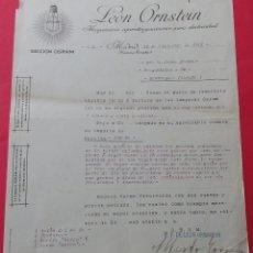 Cartas comerciales: CARTA COMERCIAL. MAQUINARIA APARATOS Y ACCESORIOS PARA ELECTRICIDAD. OSRAM. LEÓN ORNSTEIN. 1913.. Lote 182454228