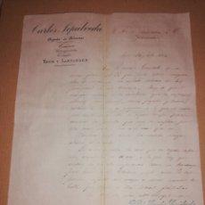 Cartas comerciais: 1884 AGENTE ADUANAS CARLOS SEPULVEDA IRUN SANTANDER. Lote 183505298