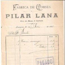 Cartas comerciales: ZARAGOZA 1908 FÁBRICA DE CORSÉS. PILAR LANA.. Lote 183710760