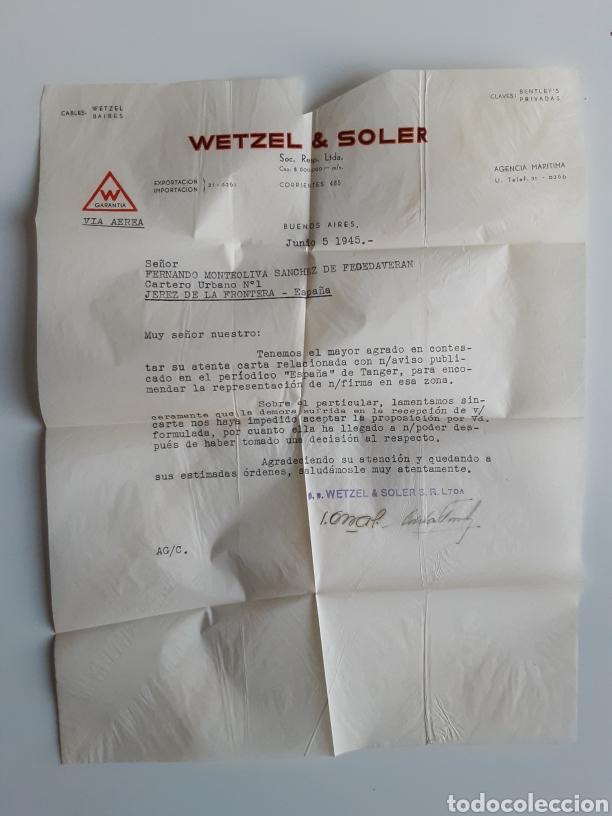 Cartas comerciales: Wetzel & Soler sobre con correspondencia Buenos Aires 1945 - Foto 3 - 183721090
