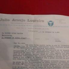 Cartas comerciales: JULIO ARAUJO LOUREIRO AGENTE COMERCIAL PONTEVEDRA DE INDUSTRIAS CAMBRA VALENCIA. Lote 184000288