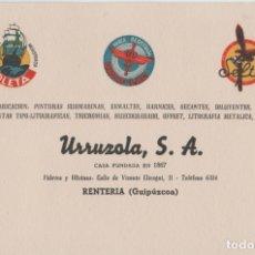 Cartas comerciales: LOTE B PUBLICIDAD TAMAÑO POATAL TARJETA DE VISITA AÑOS 50 URRUZOLA GUIPUZCUA PAIS VASCO. Lote 184031477