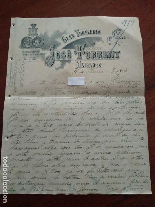 ALICANTE - JOSE TORRENT - GRAN TONELERIA - CARTA COMERCIAL - AÑO 1893 - INTERESANTE (Coleccionismo - Documentos - Cartas Comerciales)