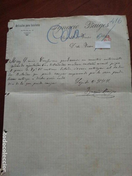 REUS - IGNACIO BAIGES - AGUILA, 8 - CARTA COMERCIAL - AÑO 1893 - INTERESANTE (Coleccionismo - Documentos - Cartas Comerciales)