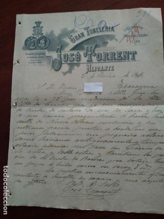 ALICANTE - JOSE TORRENT - DIPLOMA DE HONOR - CARTA COMERCIAL - AÑO 1893 - INTERESANTE (Coleccionismo - Documentos - Cartas Comerciales)