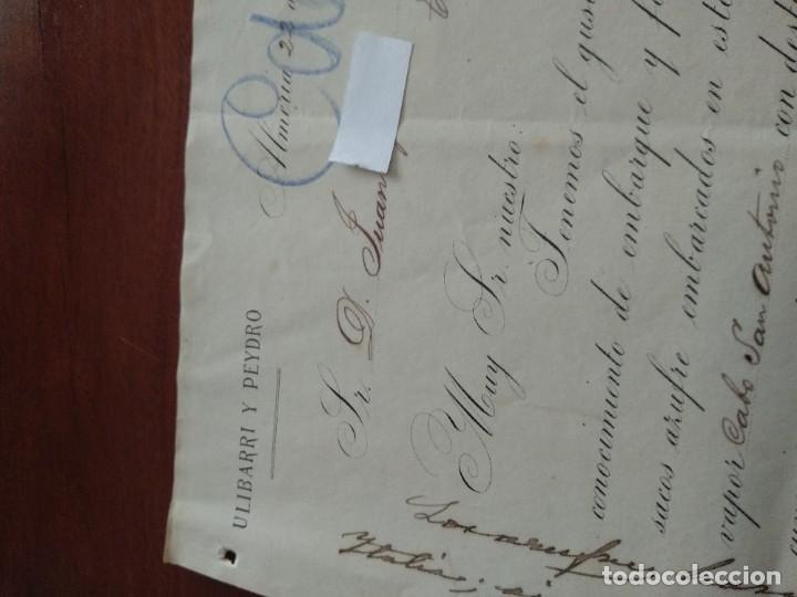 Cartas comerciales: ALMERIA - ULIBARRI Y PEYDRO - CARTA COMERCIAL - AÑO 1893 - INTERESANTE - Foto 2 - 184088058