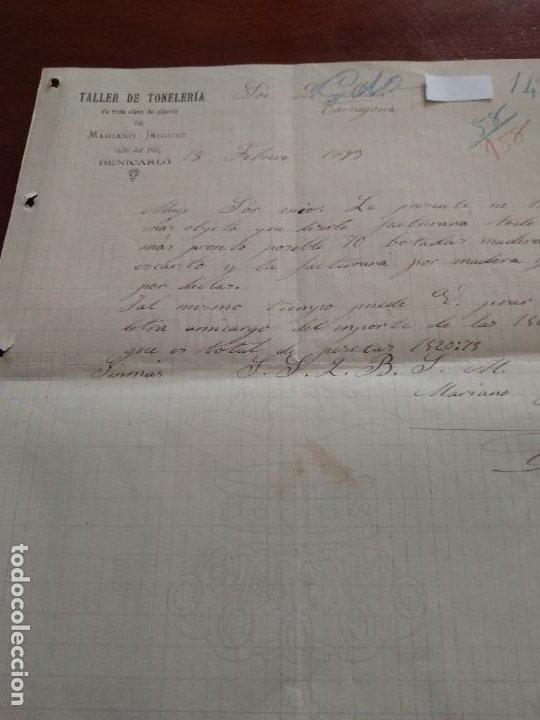BENICARLÓ - TALLER DR TONELERIA - MARIANO IÑIGUEZ - CARTA COMERCIAL - AÑO 1893 - INTERESANTE (Coleccionismo - Documentos - Cartas Comerciales)
