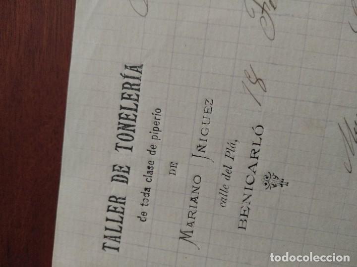 Cartas comerciales: BENICARLÓ - TALLER DR TONELERIA - MARIANO IÑIGUEZ - CARTA COMERCIAL - AÑO 1893 - INTERESANTE - Foto 2 - 184088677