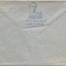 Cartas comerciales: SOBRE CUÑO JOSÉ BLASCO ORTS, JÁTIVA (VALENCIA) CON CUÑO SALUDO FRANCO ¡ARRIBA ESPAÑA!. Lote 184287516