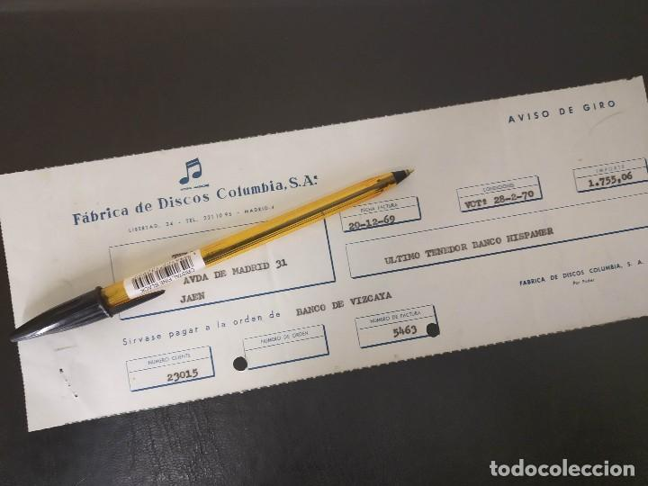 FABRICA DE DISCOS COLUMBIA SA, JUAN INURRIETA. MADRID SAN SEBASTIAN 1970. AVISO DE GIRO. (Coleccionismo - Documentos - Cartas Comerciales)