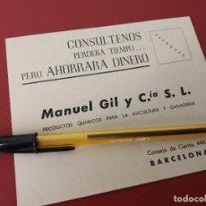 Cartas comerciales: MANUEL GIL Y CIA PRODUCTOS QUIMICOS PARA AGRICULTURA Y GANADERIA BARCELONA.. Lote 187461112