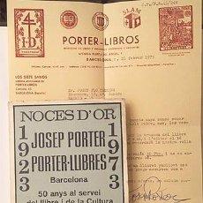 Cartas comerciales: CARTA + LIBRO DE JOSEP PORTER. (1923-1973. MIL ANYS DE LLIBRES A CATALUNYA. NOCES D´OR). Lote 187606816