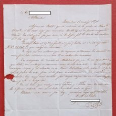 Cartas comerciales: CARTA MANUSCRITA. DE BARCELONA A ALBACETE. 1871. Lote 190060805