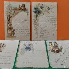 Cartas comerciales: LOTE DE CINCO CARTAS DE FELICITACIÓN CON RECORTABLES. SIGLO XIX-XX.. Lote 190326726
