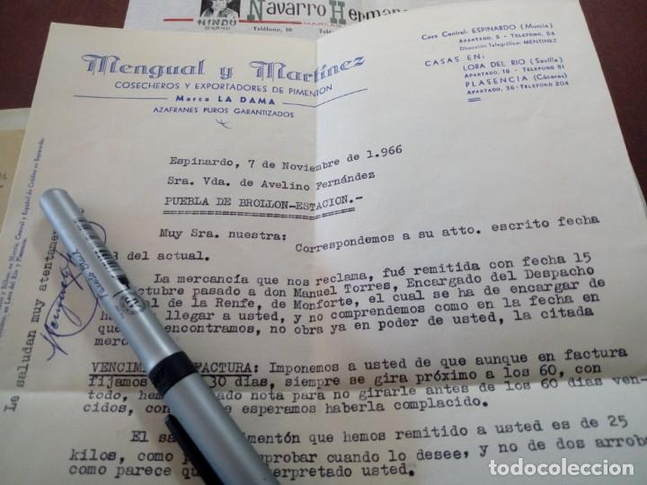LOTE DE DOS CARTAS NAVARRO HERMANOS Y MENGUAL Y MARTÍNEZ ESPINARDO MURCIA CORUÑA (Coleccionismo - Documentos - Cartas Comerciales)