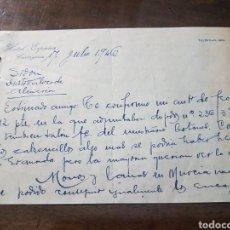 Cartas comerciales: CARTA COMERCIAL HOTEL ESPAÑA CARTAGENA 1946.. Lote 190749086