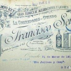 Cartas comerciales: FRANCISCO SERRANO. LA CEPA DE CAMPO REY. FÁBRICA DE AGUARDIENTES Y LICORES. CARTA COMERCIAL DE 1912.. Lote 190906828