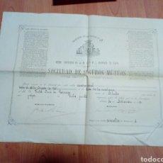 Cartas comerciales: VIEJA POLIZA DE SEGUROS -DIPUTACION PROVINCIAL DE ALAVA - SDAD SEGUROS MUTUOS 1880 POLIZA Nº 19. Lote 191226360