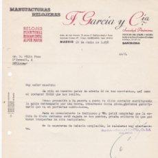 Cartas comerciales: CARTA COMERCIAL. F. GARCÍA Y CÍA. MANUFACTURAS RELOJERAS. MADRID 1958. Lote 191300927