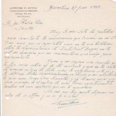 Cartas comerciales: CARTA COMERCIAL. ANTONIO F. HEVIA. AGENTE COMERCIAL COLEGIADO. BARCELONA 1958. Lote 191301125