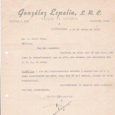 Cartas comerciales: CARTA COMERCIAL. GONZÁLEZ ESPALIU, S.R.L. TALLER DE JOYERÍA. CÓRDOBA 1958. Lote 191301257