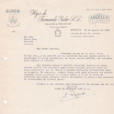 Cartas comerciales: CARTA COMERCIAL. HIJOS DE FERNANDO ZEHR S.L. RELOJES AL POR MAYOR. MADRID 1958. Lote 191301723