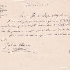 Cartas comerciales: CARTA COMERCIAL. JULIAN HUECAS. JOYERO. MADRID 1958. Lote 191301918