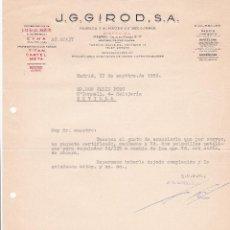 Cartas comerciales: CARTA COMERCIAL. J.G. GIROD, S.A. FÁBRICA Y ALMACÉN DE RELOJERÍA. MADRID 1958. Lote 191302330